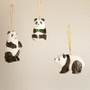 Wooden Panda Ornaments,  Set of 3