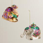 Glass Jewel Camel & Elephant Ornaments, Set of 2
