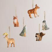 Wooden Woodland Animals Ornaments, Set of 6
