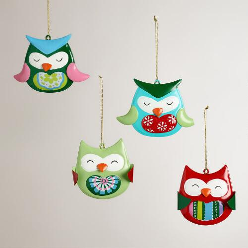 Glass Owl Ornaments, Set of 4