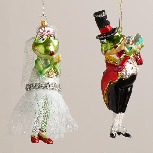 Glass Frog Bride & Groom Ornaments, Set of 2