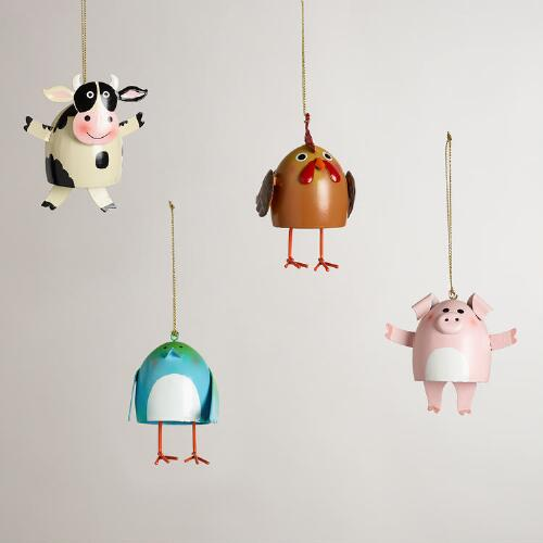 Metal Farm Animal Dangle Leg Ornaments, Set of 4