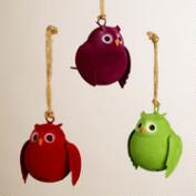 Metal Flocked Owl Ornaments,  Set of 3