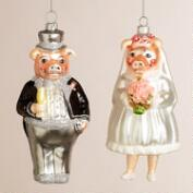 Glass Newlywed Pig Ornaments,  Set of 2