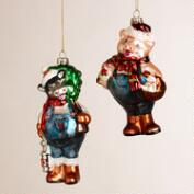 Glass Animal Farmer Ornaments, Set of 2