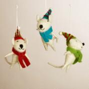 Felt Mice Ornaments, Set of 3
