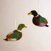 Felt Duck Ornaments, Set of 2