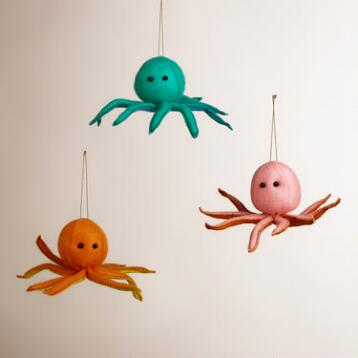 Felt Octopus Ornaments, Set of 3