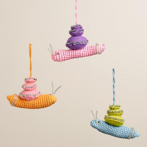 Fabric and Crochet Snail Ornaments, Set of 3