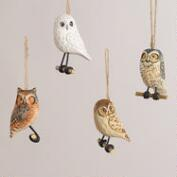 Wooden Owl on Perch Ornaments, Set of 4