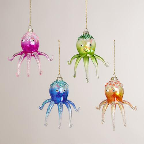 Glass Octopus Ornaments, Set of 4