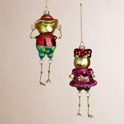 Glass Beach Frog Ornaments, Set of 2