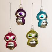 Metal Owl Ornaments, Set of 4