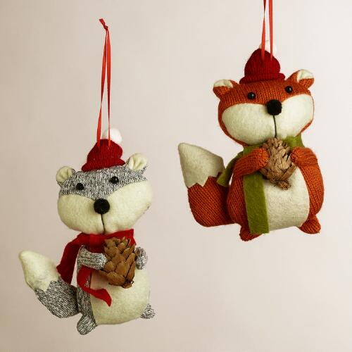 Fabric Fox with Pinecone Ornaments, Set of 2
