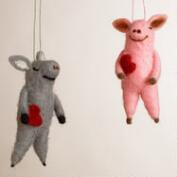 Felt Pig with Heart Ornaments, Set of 2
