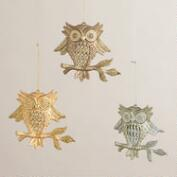 Owl on Branch Ornaments, Set of 3