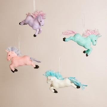 Paper Unicorn Ornaments, Set of 4