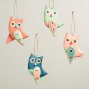 Wooden Owl with Dangle Wings Ornaments, Set of 4
