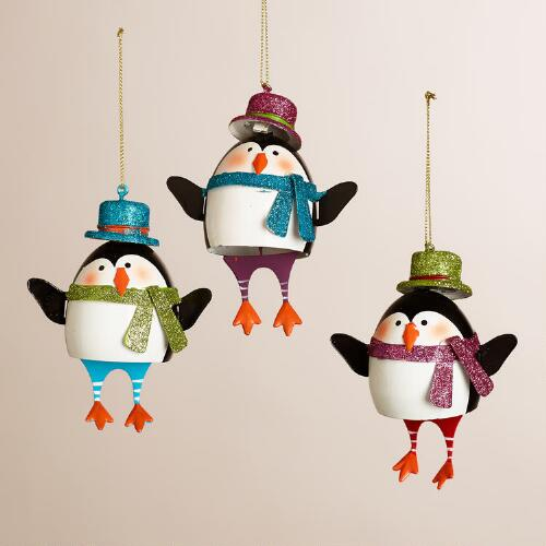 Metal Penguin with Dangle Legs Ornaments, Set of 3