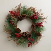 Twig and Pinecone Buon Natale Wreath
