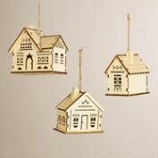 Laser-Cut Wooden House Ornaments, Set of 3