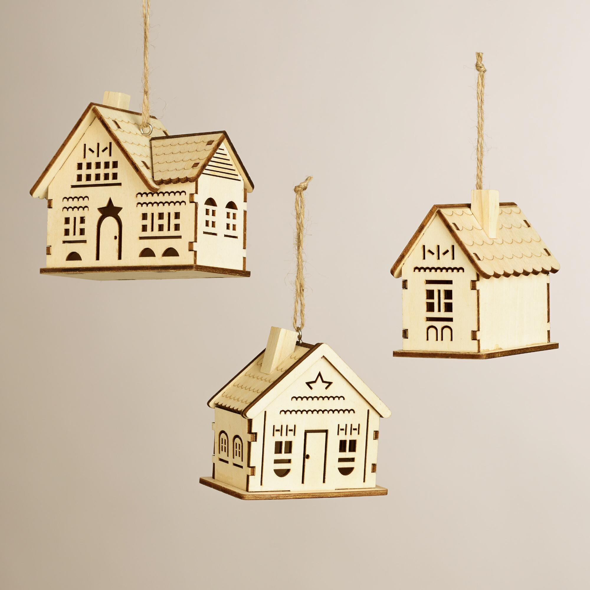 Laser cut wooden house ornaments set of 3 world market for Home ornaments