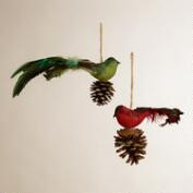 Burlap Bird on Pinecone Ornaments, Set of 2