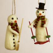 Felt Snowman Ornaments, Set of 2