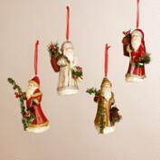 Paper Pulp Santa Ornaments, Set of 4