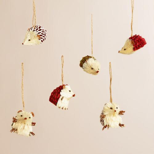 Natural Fiber and Paper Hedgehog Ornaments, Set of 6