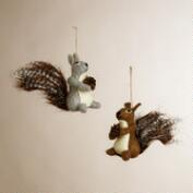 Felt Squirrel with Pinecone Ornaments, Set of 2