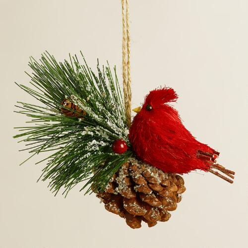 Natural Fiber Baby Cardinal with Pinecone Ornament