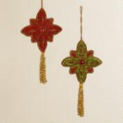 Fabric Zardozi Medallion Ornaments, Set of 2