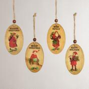 Wood Disc Santa and Kid Ornaments, Set of 4