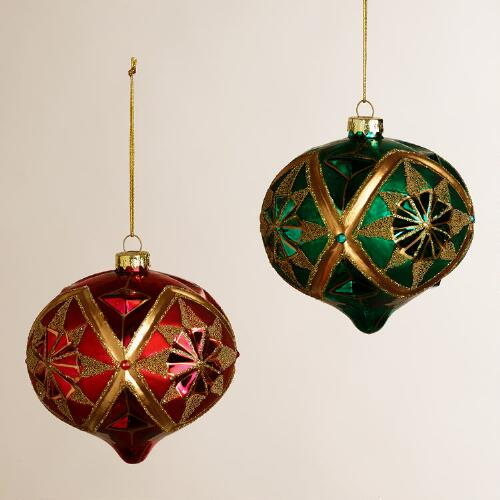 Gold Glass Onion Ornaments, Set of 2