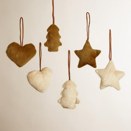 Faux Fur Heart, Star and Tree Ornaments, Set of 6