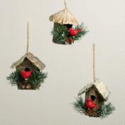 Natural Fiber Cardinal in Birdhouse Ornaments, Set of 3