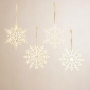 Laser-Cut Wooden Snowflake Ornaments, Set of 4