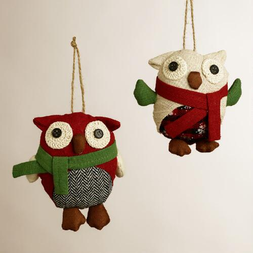 Fabric Owl with Scarf Ornaments, Set of 2