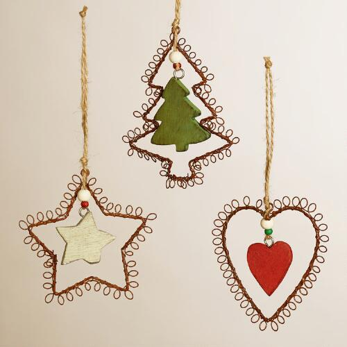 Wire and Wooden Heart, Star and Tree Ornaments, Set of 3