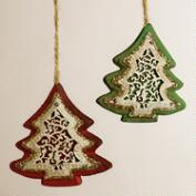 Glittered Wood and Metal Tree Ornaments, Set of 2