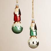 Glass Santa on Orb Ornaments, Set of 2