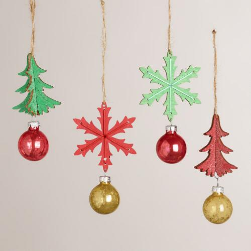 Wooden Snowflake and Tree Ornaments, Set of 4