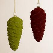Glass Flocked Pinecone Ornaments, Set of 2