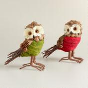 Natural Fiber Owls, Set of 2