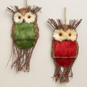 Natural Fiber Hanging Owls, Set of 2