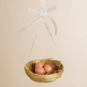 Pink Eggs in Natural Fiber Nest Ornament