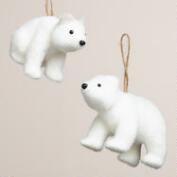 Glittered Fabric Polar Bear Ornaments, Set of 2