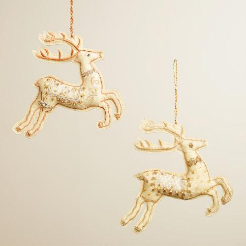 Fabric Zardozi Deer Ornaments, Set of 2