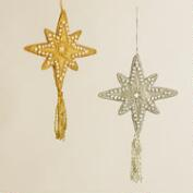 Fabric Zardozi North Star Ornaments, Set of 2